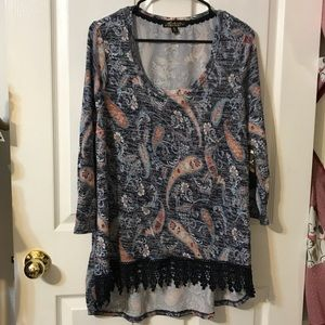 Absolutely Famous Blue and Orange Paisley Tunic